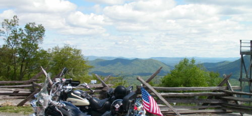 Motorcycles at a roadside overlook