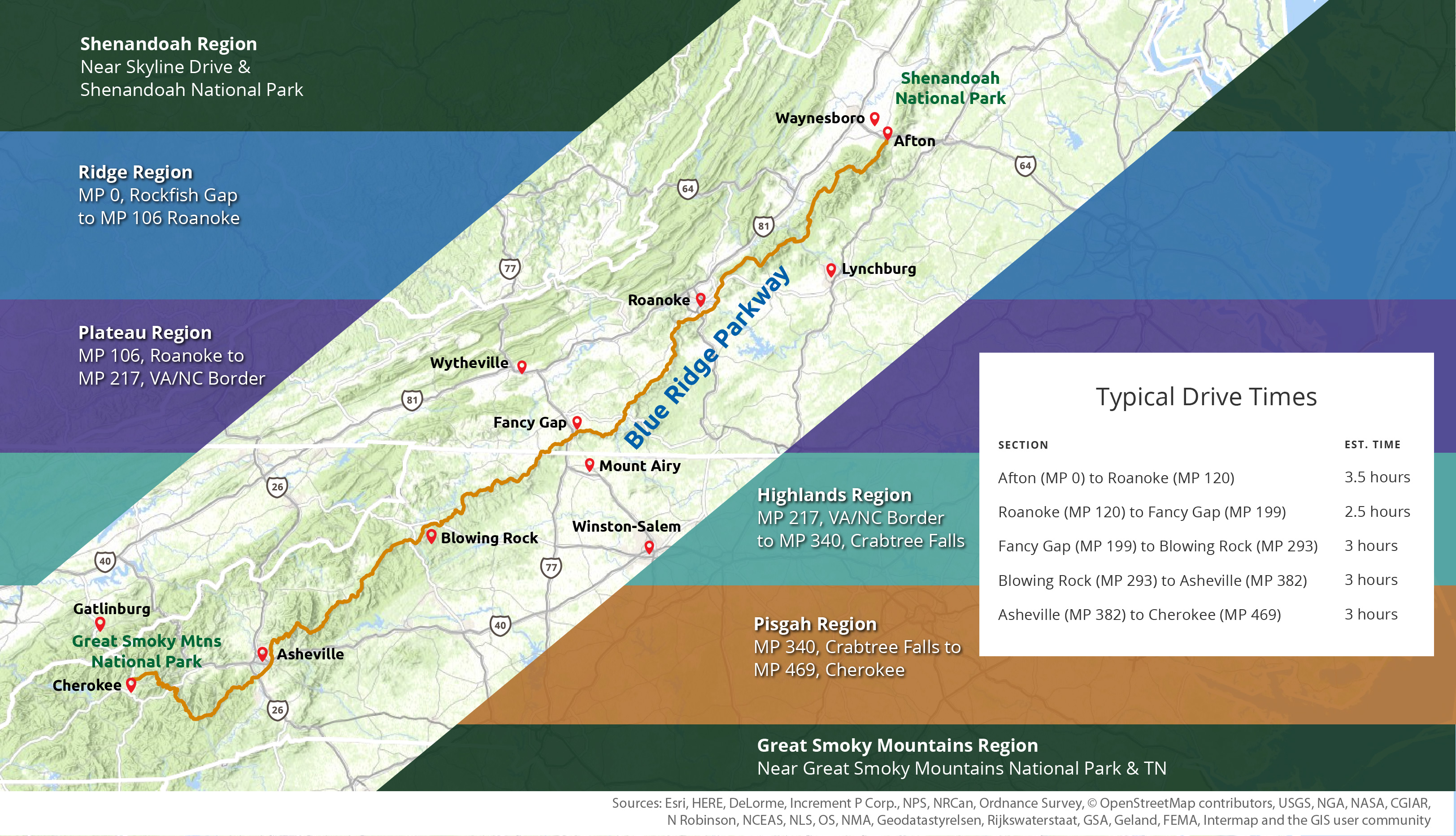 blue ridge parkway map with regions