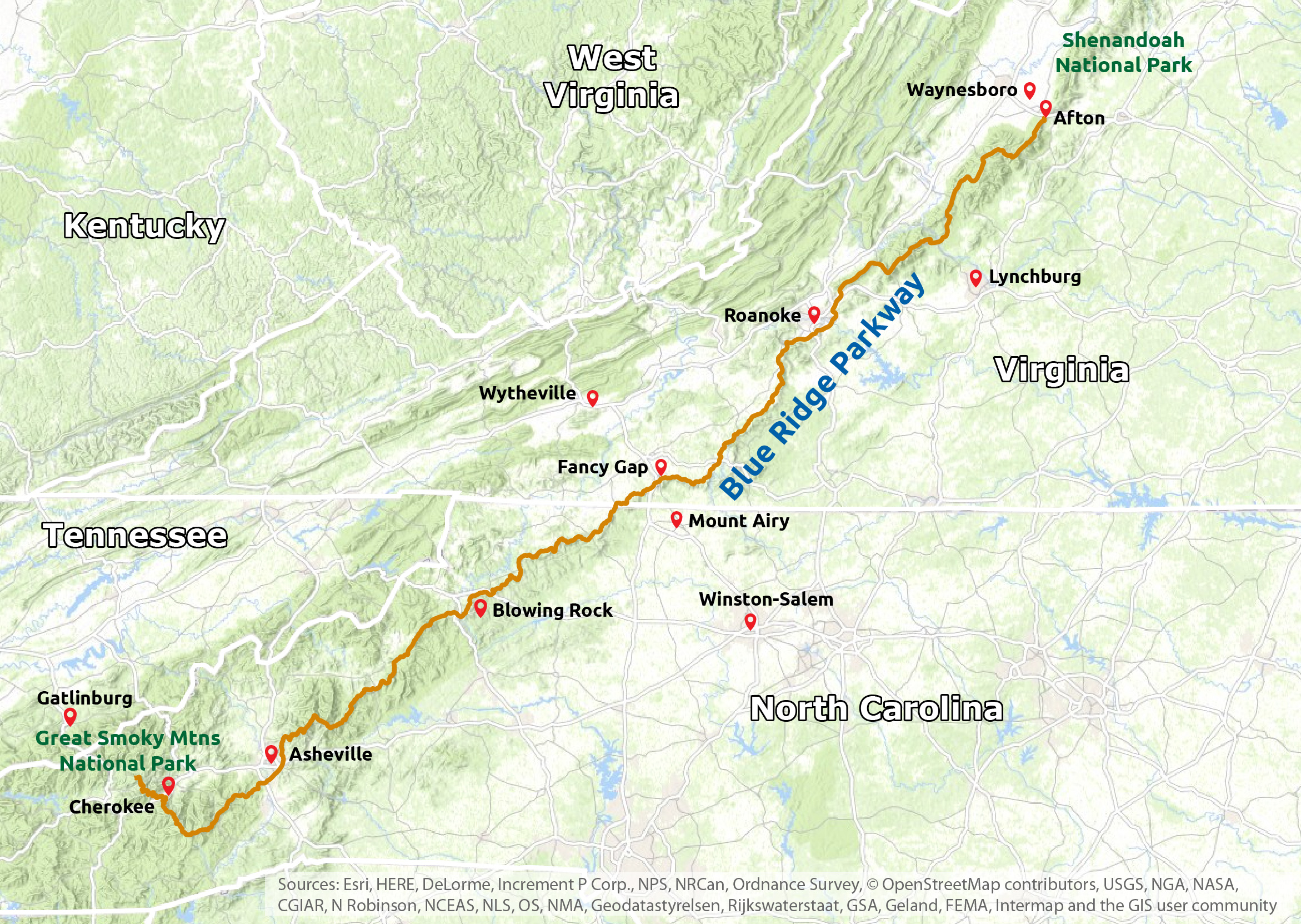 blue ridge parkway region map