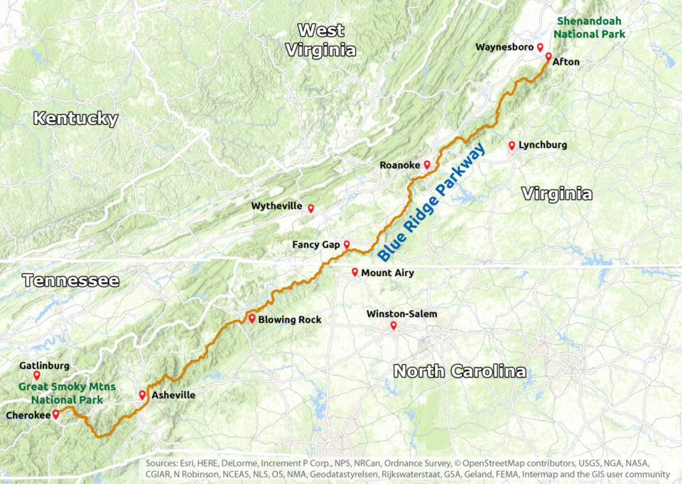 Blue Ridge Parkway Region Map
