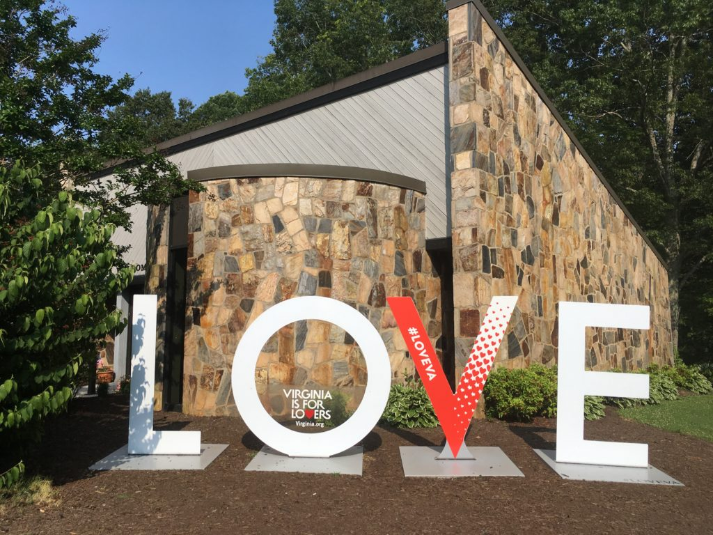 LOVE sign at Virginia State Welcome Center