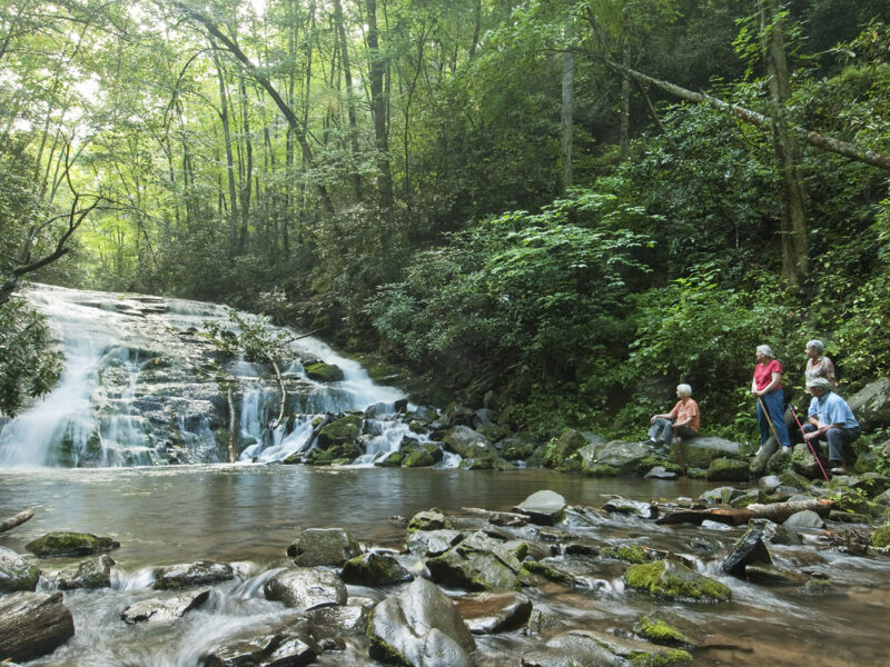 Hikers at Tom Branch Falls