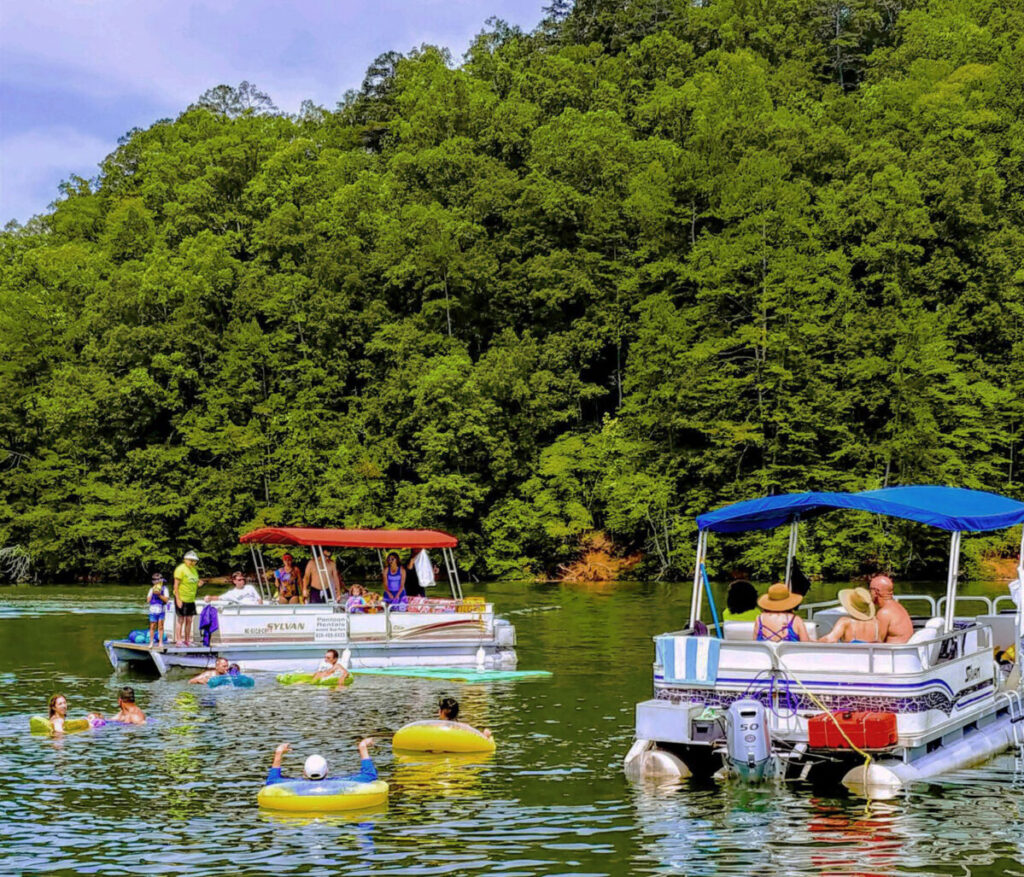 Pontoons on Fontana Lake