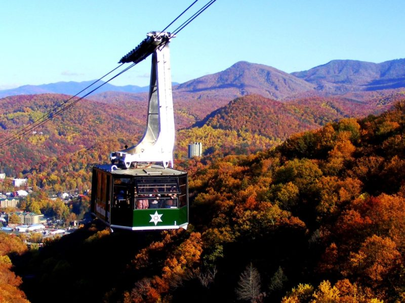 Fall landscape behind the aerial tramway at Ober Gatlinburg