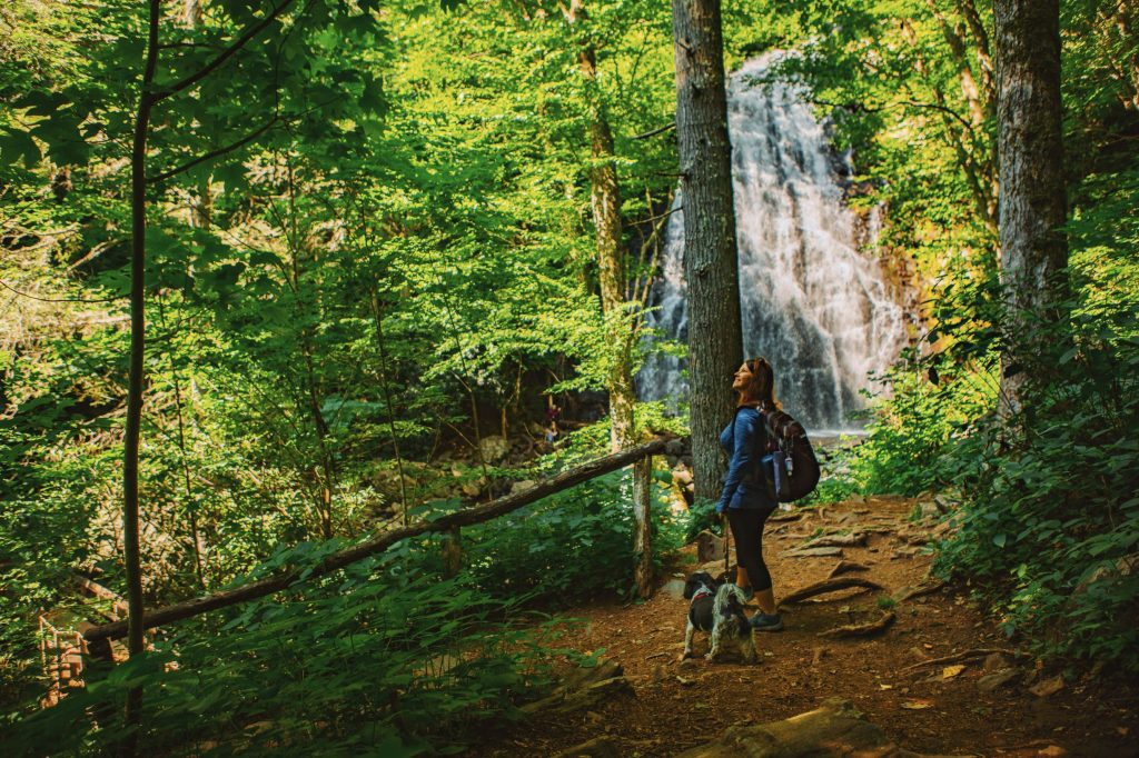 Woman walking dog in front of Crabtree Falls in North Carolina