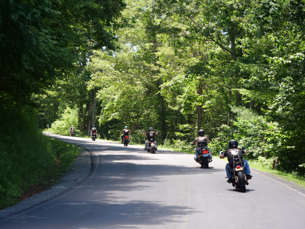 motorcycles along the Blue Ridge Parkway