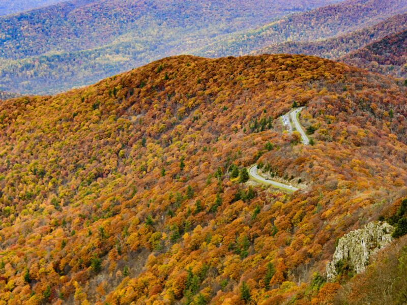 Overhead view of a section of the Blue Ridge Parkway