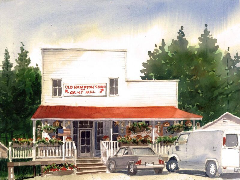 artistic rendition of vehicles in front of the Old Hampton Store